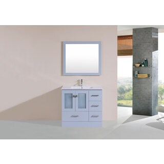 36-inch Hermosa Grey Single Modern Vanity with Integrated Sink (Right)