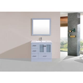 36-inch Hermosa Grey Single Modern Vanity with Integrated Sink (Left)