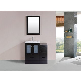 36-inch Hermosa Espresso Single Modern Vanity with Side Cab and Int Sink