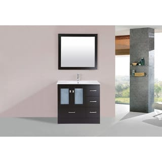 36-inch Hermosa Espresso Single Modern Vanity with Integrated Sink (Right)