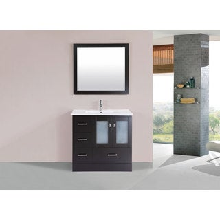 36-inch Hermosa Espresso Single Modern Vanity with Integrated Sink (Left)