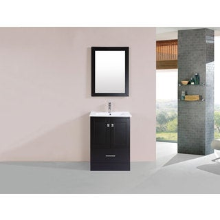 24-inch Redondo Espresso Single Modern Vanity with Integrated Sink