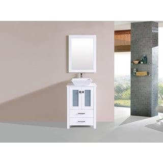 24-inch Newport White Single Modern Bathroom Vanity with Vessel Sink