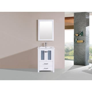 24-inch Newport White Single Modern Bathroom Vanity with Integrated Sink