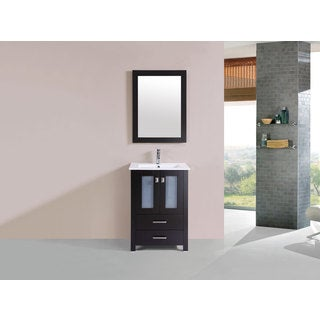 24-inch Newport Espresso Single Modern Vanity with Integrated Sink