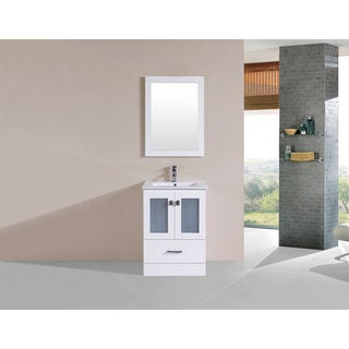24-inch Hermosa White Single Modern Bathroom Vanity with Integrated Sink