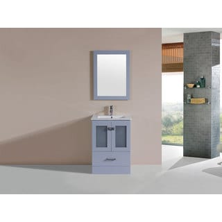 24-inch Hermosa Grey Single Modern Bathroom Vanity with Integrated Sink