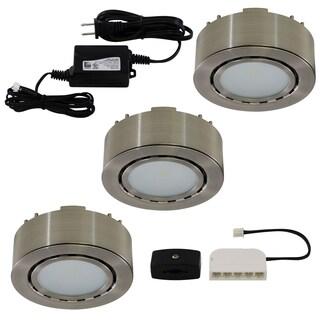 Liteline Corporation UCP-LED3-MN 12 Volt Nickel LED Puck Light 3-count
