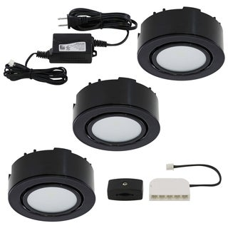Liteline Corporation UCP-LED3-BK 12 Volt Black LED Puck Light Kit 3-count