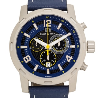 Buech & Boilat Baracchi Men's Ronda 5030.D Sapphire Intensely Textured multi-level Dial Superluminova Swiss Chronograph Watch