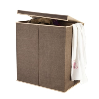Brown Laundry Hamper with Two Compartment Sorter and Magnetic Lid