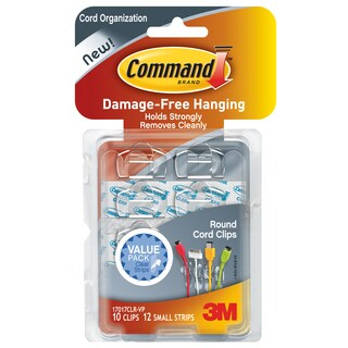 Command Strips 17017CLR-VP Clear Round Command Cord Clips 10-count