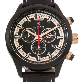 Jules Breting Nostromo Men's Ronda 5030.D Movement Sapphire Superluminova Genuine Leather Swiss Chronograph Watch