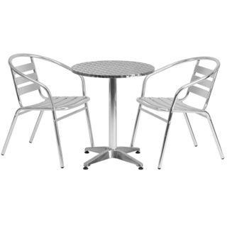 Offex 23.5-inch Round Aluminum Stackable Indoor-outdoor Table with 2 Slat Back Chairs
