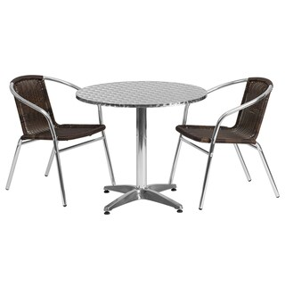 Offex 31.5-inch Round Aluminum Indoor-outdoor Restaurant Table with 2 Rattan Chairs
