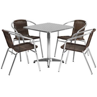 Offex 27.5-inch Square Aluminum Indoor-outdoor Restaurant Table with 4 Rattan Chairs
