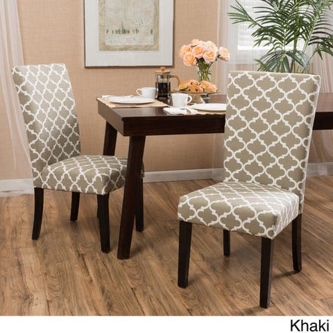 Aurora Fabric Trellis Pattern Dining Chair (Set of 2)