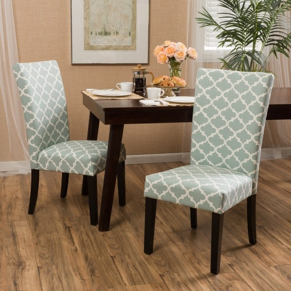 White Fabric Dining Room Chairs: Shop Aurora Fabric Trellis Pattern Dining Chair (Set Of 2
