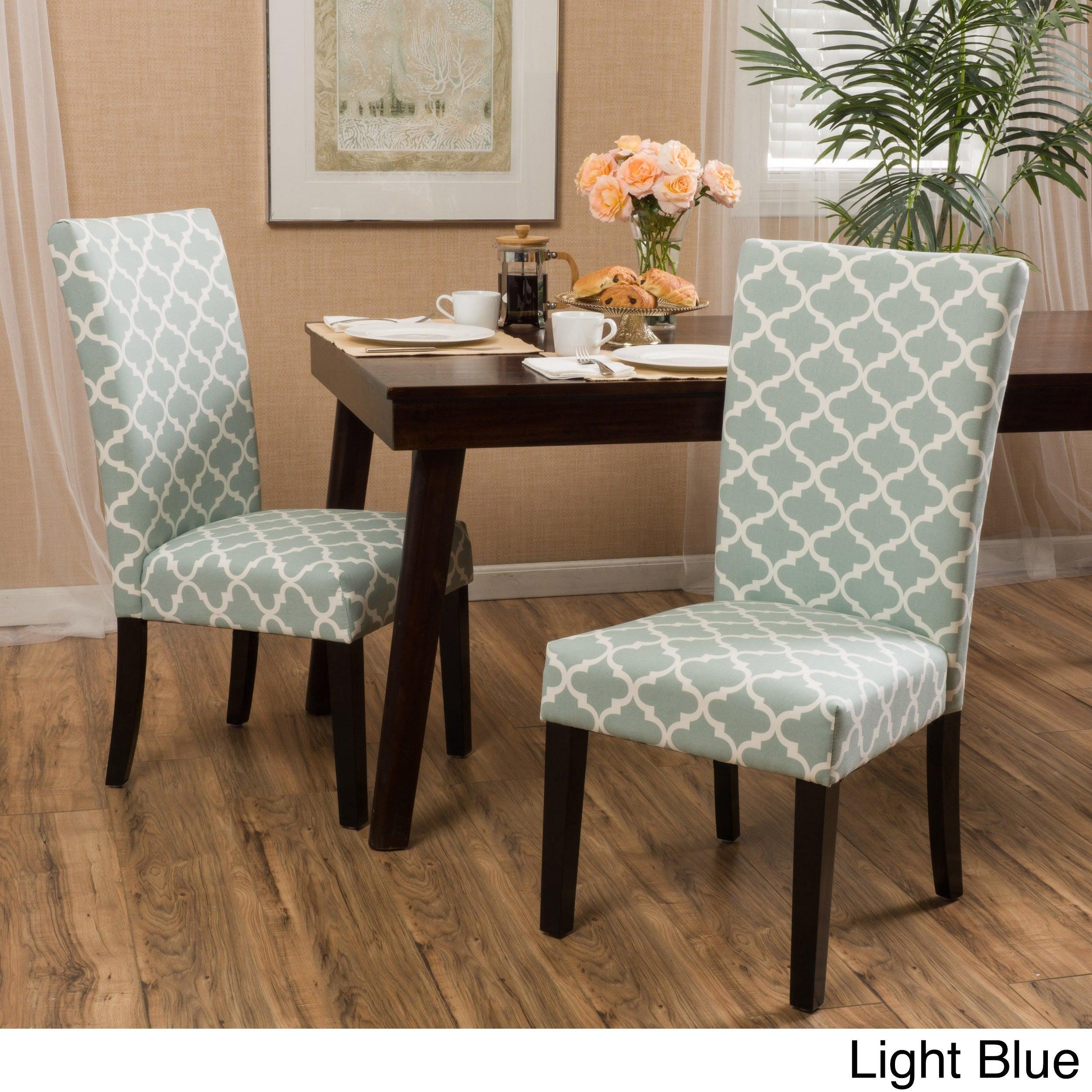 Aurora Fabric Trellis Pattern Dining Chair (Set of 2)