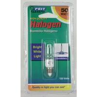 Feit Electric BPQ50/CL/MC- 50 Watt Halogen Single Ended Clear Mini Candelabra Base Bulb