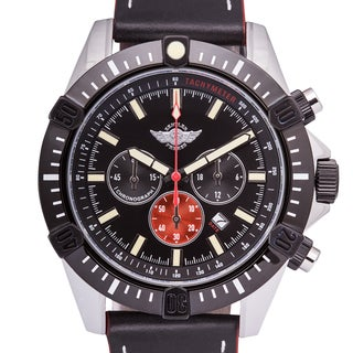 Zentler Freres Ravenmocker Pilot's Chronograph Men's Miyota OS20 Movement Chronograph Watch with Genuine Leather Strap