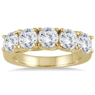 Marquee Jewels 14K Yellow Gold 2 1/2 CTW Prong Set 5-stone Diamond Band (I-J, I2-I3)