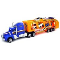 Velocity Toys Thunderbolt 3000 Express Friction Toy Truck Ready To Run with 4 Toy Cars, No Batteries Required (Colors May Vary)