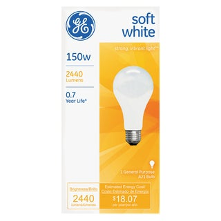 GE Lighting 10429 150 Watts Soft White Standard Incandescent Light Bulbs
