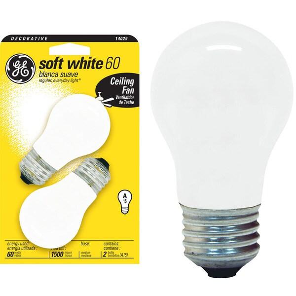 Ge Incandescent Light Bulb 60 Watts 650 Lumens 2700 K A Line A15 Medium Base E26 2 Pk