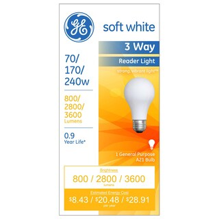 GE Lighting 15846 Soft White 3 Way A21 Incandescent Light Bulb