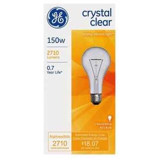 GE Lighting 16068 150 Watt Crystal Clear Incandescent Light Bulbs