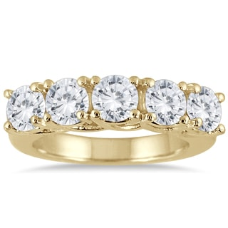 Marquee Jewels 14K Yellow Gold 3 CTW Prong Set 5-stone Diamond Band (I-J, I2-I3)