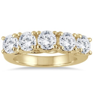 Marquee Jewels 14K Yellow Gold 3 CTW Prong Set 5-stone Diamond Band