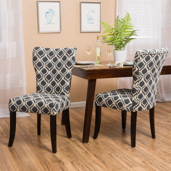 Shop Cecily Fabric Geometric Print Dining Chair Set Of 2