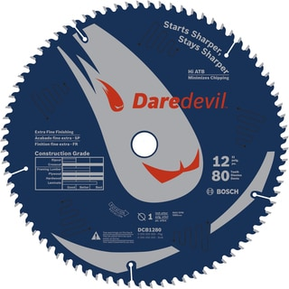 "Daredevil DCB1280 12"" 80 TPI Daredevil Blade For Table & Miter Saws"