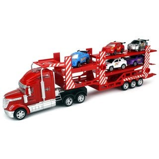 Velocity Toys Semi Race Carrier 1:32 Lights and Sounds Friction Toy Truck (Colors May Vary)