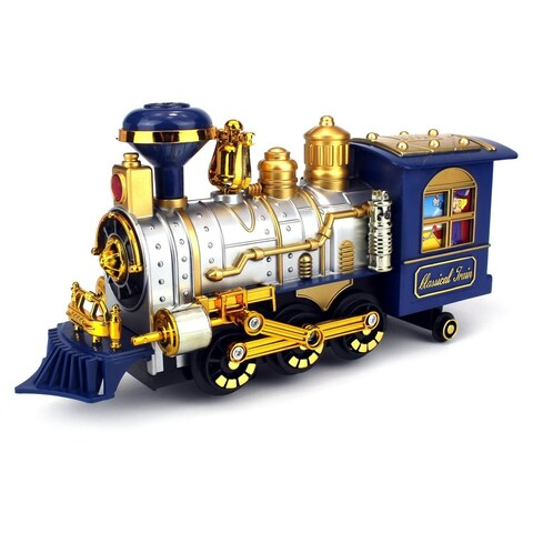 Velocity Toys Classical Locomotive Battery Operated Bump and Go Toy Train