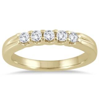 Marquee Jewels 14K Yellow Gold 1/4 CTW Prong Set 5-stone Diamond Band (I-J, I2-I3)