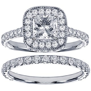 Platinum 2 3/4ct TDW Pave Set Diamond Encrusted Princess-cut Engagement Ring Set