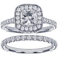 14k or 18k White Gold 2 3/4ct TDW Diamond Encrusted Princess-cut Engagement Ring Set