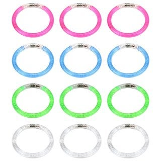 Velocity Toys Flashing Clear LED Light Up Party Favor Toy Bracelets (Set of 12)
