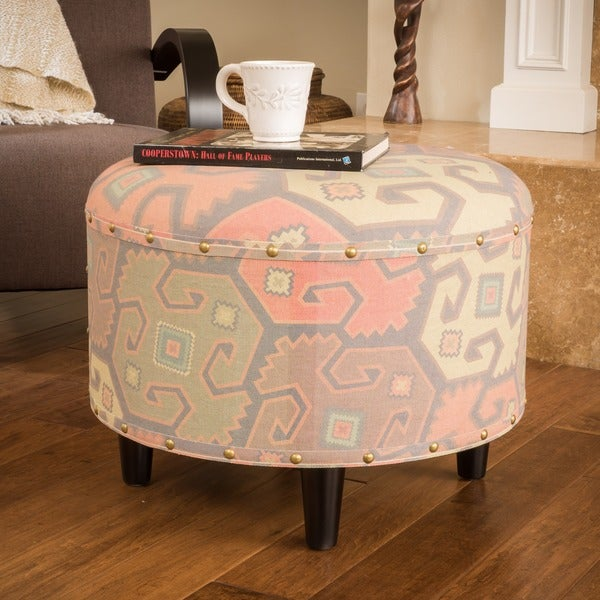 Shop Nora Round Printed Fabric Ottoman Foot Stool By