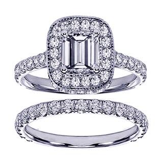 Platinum 2 3/4ct TDW Diamond Encrusted Emerald-cut Engagement Ring Set