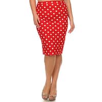 MOA Collection Plus Polka Dot Pencil Skirt