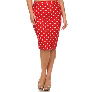 MOA Collection Plus Polka Dot Pencil Skirt