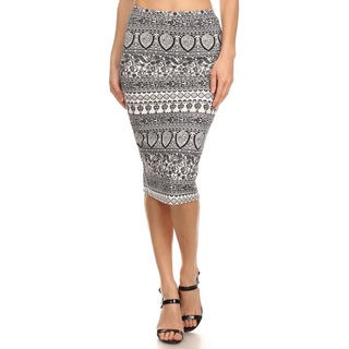 MOA Collection Floral Striped Pencil Skirt