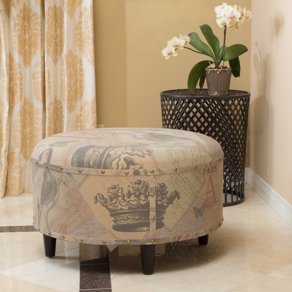Shop Juliette Round Printed Fabric Small Ottoman Foot