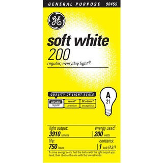 GE Lighting 44534 200 Watt Soft White Standard Incandescent Light Bulbs