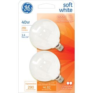 GE Lighting 44414 40 Watt White Vanity Globe Light Bulbs 2-count