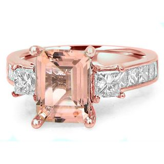 Noori 14k Rose Gold Morganite 1 1/10ct TDW Diamond Three Stone Engagement Ring (G-H, SI1-SI2)